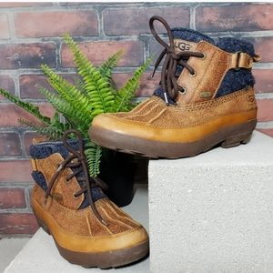 UGG Lina Leather Laceup Duck Boots Chesnut